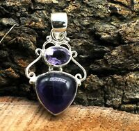 Natural Purple Amethys Gemstone Solid 925 Sterling Silver Jewelry Pendant Size-1