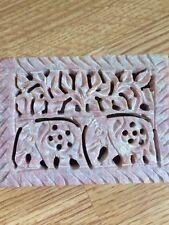 India Indio Elefante Asiático joyas pequeña caja de piedra tallada