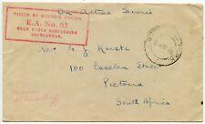 SOUTH AFRICA WW2 BOXED SUB BASE CENSOR EA No.3 OAS 1940