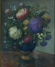 Beau tableau ancien Nature morte Bouquet de  pivoines dans un vase signé Leroy