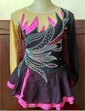 black pink ice skating dresses for girls dancing figure competition dress custom