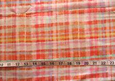 "100% Cotton Fabric ""Wonder Blossoms"" by P&B Fabrics, Plaid Orange/Pink/Yellow"