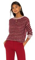 Theory Womens Alpaca Stripe Pullover Sweater NWT Large Red Purple $330