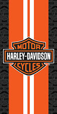 Harley Davidson Orange Racing Stripe Bath, Pool, Beach Towel 30x60 Licensed