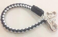 Strap Men Whip Leather Handmade Wallet Chain Rock Black White Men's For Biker