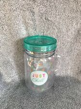"Large Plastic Drinking Jar With Handle , Slogan ""just Chill"" Design 1"