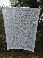 """Lot Of Vintage White Lace Curtains 2 Panels 43"""" X 61"""" White Shabby Chic Floral"""