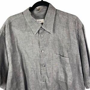BRIONI Mens Shirt XXL 100% Linen Gray Button Up Collar Pocket Short Sleeve