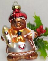Vintage Christmas Ornament Mercury Glass Mica Accents Gingerbread Girl about 3""