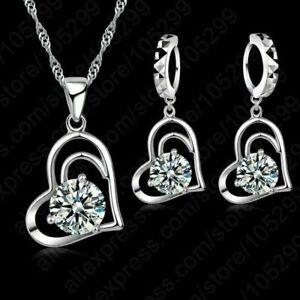 Herz SET Halskette Anhänger Ohrhänger Ohrringe Herzkette Kordelkette Geschenke