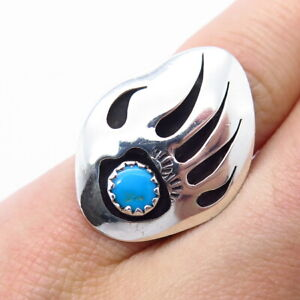 Old Pawn Navajo Sterling Silver Sleeping Beauty Turquoise Bear Paw Ring Size 5.5