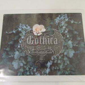 GOTHIC LADY GOTHICA ROSES TATOO  VINTAGE RETRO LARGE STEEL WALL PLAQUE TIN SIGN