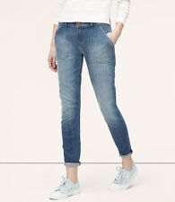 Ann Taylor Loft Relaxed Skinny Ankle Rolled Hem Utility Jeans Photon Blue 2P NWT