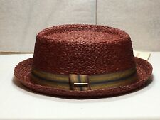 New with Tag Stetson STS36 Twin Straw Hat Men's Brim 11/4'' Burgundy size Medium