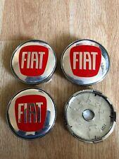 4 x Fiat 60mm Alloy Hub Wheel Centre Caps Set  Emblem Top Quality Red