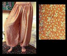 Harem Pants Belly Dance Orange with Gold Floral Design