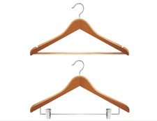 Household brown wooden clothes hanger 2 iron hooks