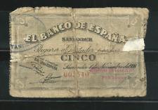 MUY ESCASO BILLETE DE 5 PTAS. 1936. SANTANDER . NUMERACIÓN BAJA. GUERRA CIVIL.