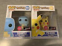 Funko Pop! Pokemon Flocked Pikachu 353 + Squirtle 504 (Gamestop Exclusives)