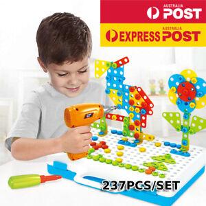 237PCS Mosaic Building Blocks Peg Electric Drill Assemble DIY Toy Set Carrycase
