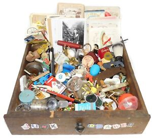 Junk Drawer Lot - Assorted vtg & Antique Estate Items Ephemera Surprise Smalls C