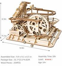 ROKR DIY Marble Run Game Wooden Model Building Kits Wood Toy Waterwheel Coaster