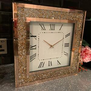 New 40cm Square Crushed Crystal Mirror Rose Gold Clock Roman Numerals Wall Clock