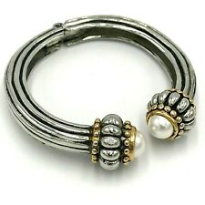 Cable Cuff Bracelet Hinged Faux Pearl Ends Brutalist Romanesque