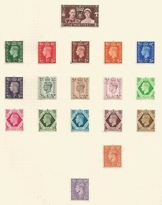 GREAT BRITAIN GEORGE VI 1937/47 FINE LIGHTLY MOUNTED MINT SET TO 1/- ON ALBUM PG