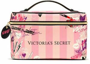2 PC VICTORIAS SECRET PINK STRIPED COSMETIC BAG MAKEUP TRAIN VANITY CASE NWT