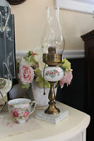 Vintage Milk Glass Lamp with Pink Roses and Blue Bows, Milk Glass Hurricane Lamp