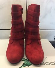 Ladies Lunar Campari Faux Suade Military Style Boot Red Size 6