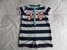 LADYBIRD Girls White & Blue Striped Playsuit 100% Cotton Size 4-5 Years