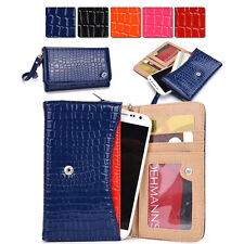 Womens Croc Skin Wallet Case Clutch Cover for Smart Cell Phones by KroO MXDV12