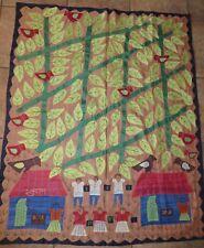 "Bihar India Women's Textile Folk Art/School Under the Banyan Tree/47"" X 36"""