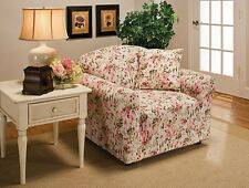 MARKDOWN-----JERSEY RECLINER COVER-LAZY BOY ---PINK FLORAL---FITS MOST CHAIRS