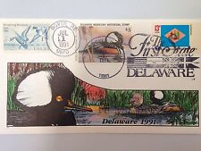 COLLINS HAND PAINTED FDC 1991 DELAWARE MILFORD DUCK