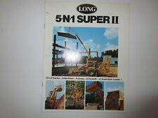 Long 5-N-1 Super 2 Tractor Loader Backhoe Crane, Forklift Brochure 12 Pages 1976