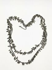 Gunmetal Gray Black Metallic Faceted Bead Charm Double Strand Necklace Fringe