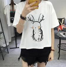 Korean Summer Fashion Girl Cute Rabbit Printed Casual Blouse Loose Tops T -Shirt