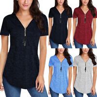 Plus Size Women Solid V-Neck Zipper Tunic T-shirt Summer Short Sleeve Casual Top