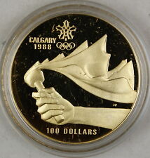 1987 Canada $100 Dollar Proof Gold Coin, 1988 Calgary Olympics, In Box w/ COA