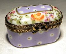 LIMOGES TRINKET / PILL BOX  SIGNED LD FLORAL CHEST