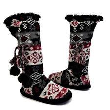 Mukluk Sweater Boot Slippers 8-9 Reindeer Snowflake Ties