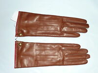 brown COACH Women's Cashmere Lined Leather Gloves tobacco 82821 NEW NWT 6.5