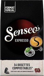 Lot 54 Dosettes Senseo Café Expresso / Doux / Corsé Caféiné Café Petit Déjeuner