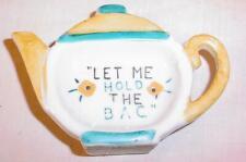 """Vintage Ceramic Tea Bag Holder """"Let Me Hold The Bag"""" Made In Japan"""
