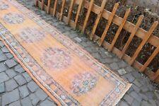 "Vintage Handmade Turkish Oushak Nursery Runner Rug 12'6""x2'11"""