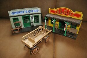 Playmobil Set 90er Jahre Sheriff Office 3423 + Saloon 3461 + Leiterwagen Western