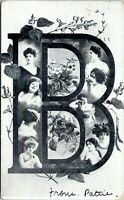 1909 Letter B Initial Undivided Antique Postcard EE